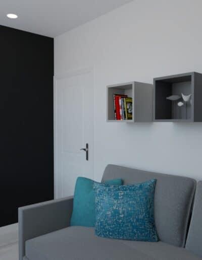projektanci wnętrz pokoj chlopca szaro bialy 1e Szaro-biały pokój dla chłopca
