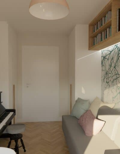 projektanci wnętrz pokoj corki z pianinem 1d Pokój z pianinem dla córki