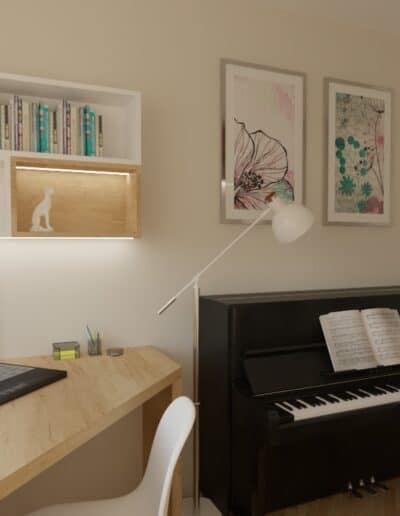 projektanci wnętrz pokoj corki z pianinem 1e Pokój z pianinem dla córki