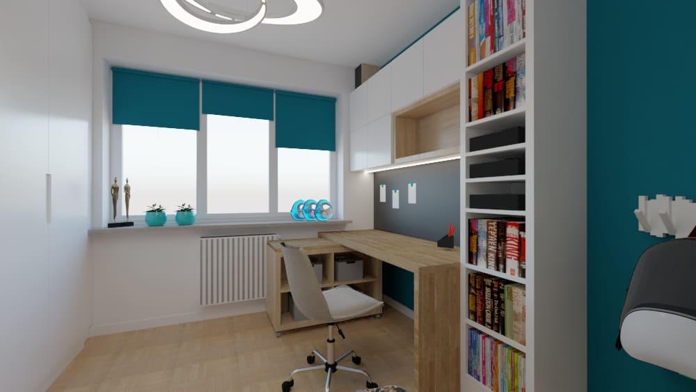 projektanci wnętrz pokoj dla chlopca 4b Pokój z geometryczną tapetą w rąby