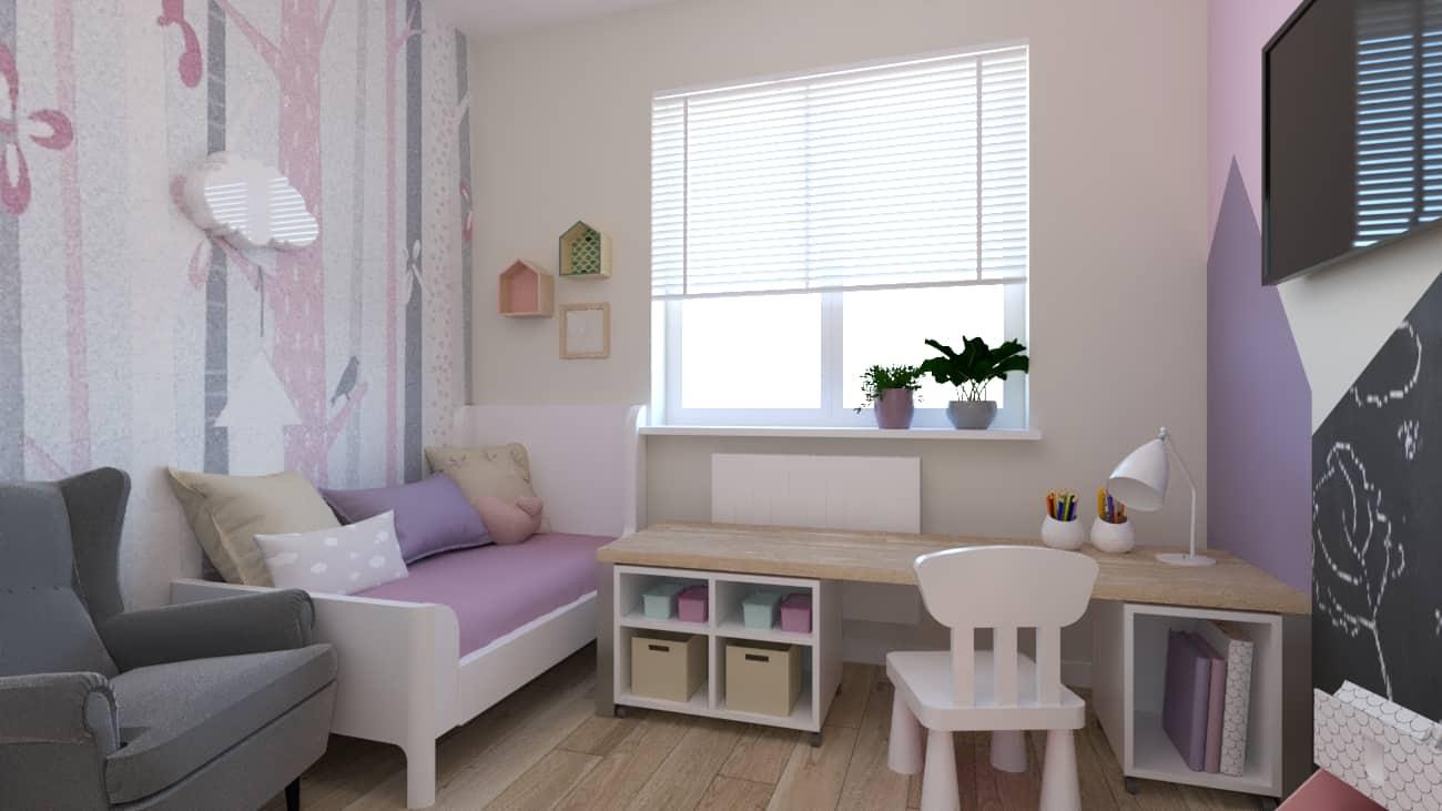 projektanci wnętrz pokoj dziewczynki tapeta las 1b Pokój dla małej dziewczynki z tapetą