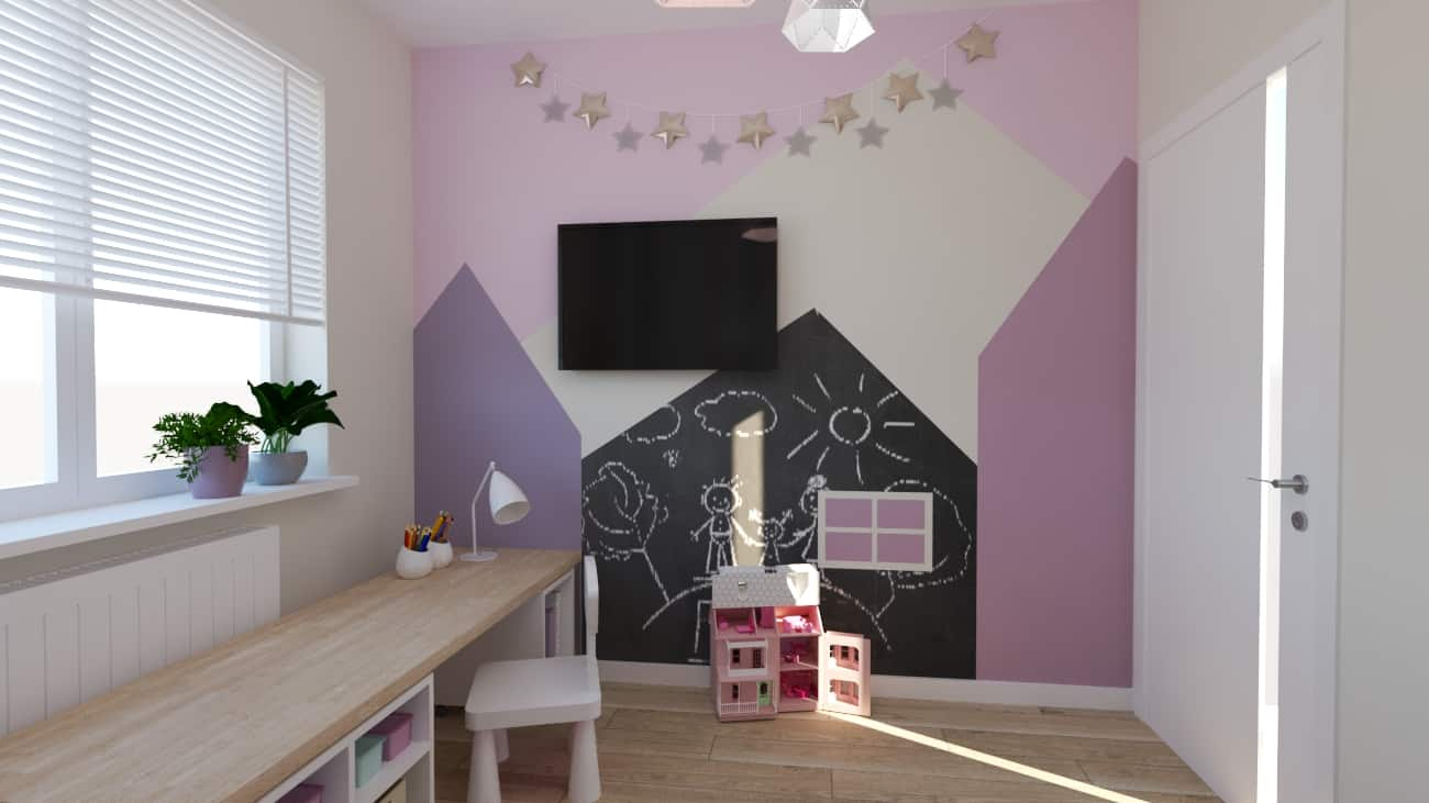 projektanci wnętrz pokoj dziewczynki tapeta las 1c Pokój dla małej dziewczynki z tapetą