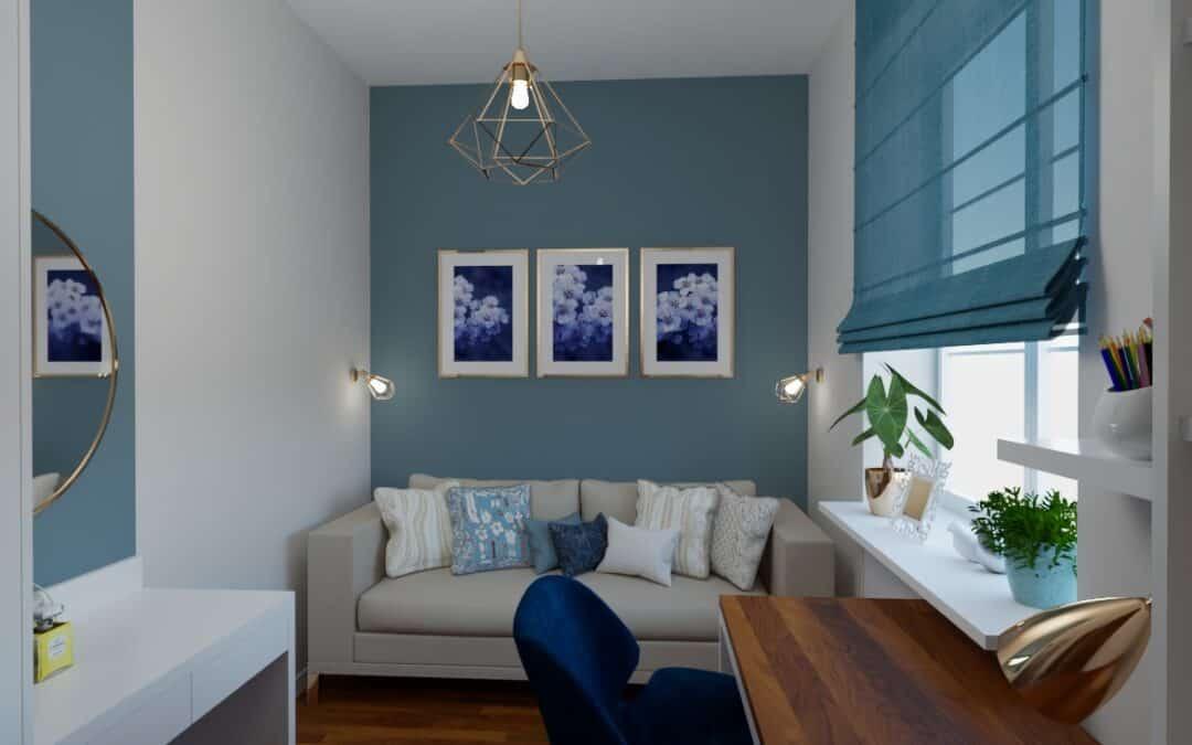 Pokój z niebieską ścianą