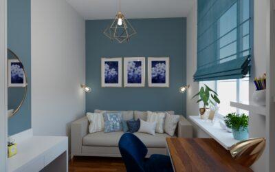 Pokój zniebieską ścianą