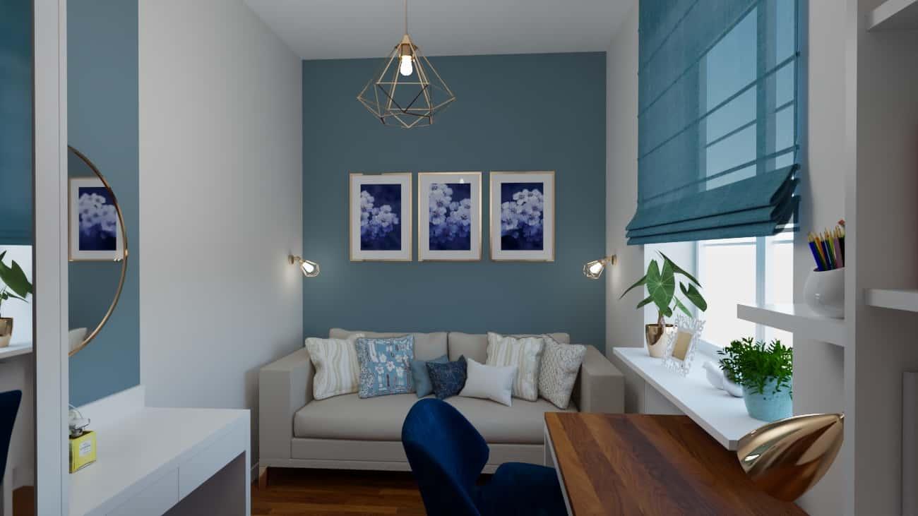 projektanci wnętrz pokoj niebieska sciana 1a Pokój z niebieską ścianą