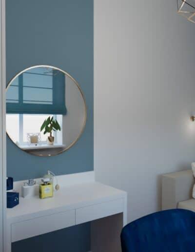 projektanci wnętrz pokoj niebieska sciana 1b Pokój z niebieską ścianą