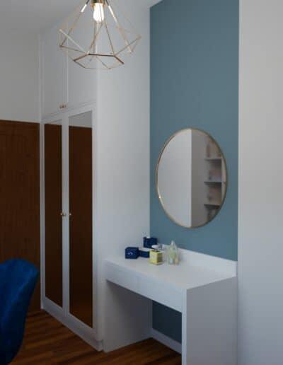 projektanci wnętrz pokoj niebieska sciana 1c Pokój z niebieską ścianą