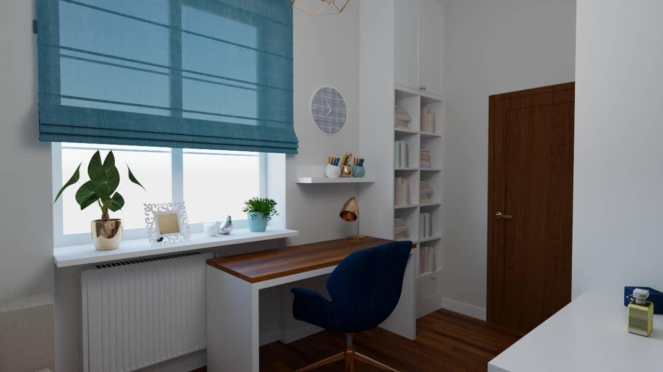 projektanci wnętrz pokoj niebieska sciana 1d Pokój z niebieską ścianą