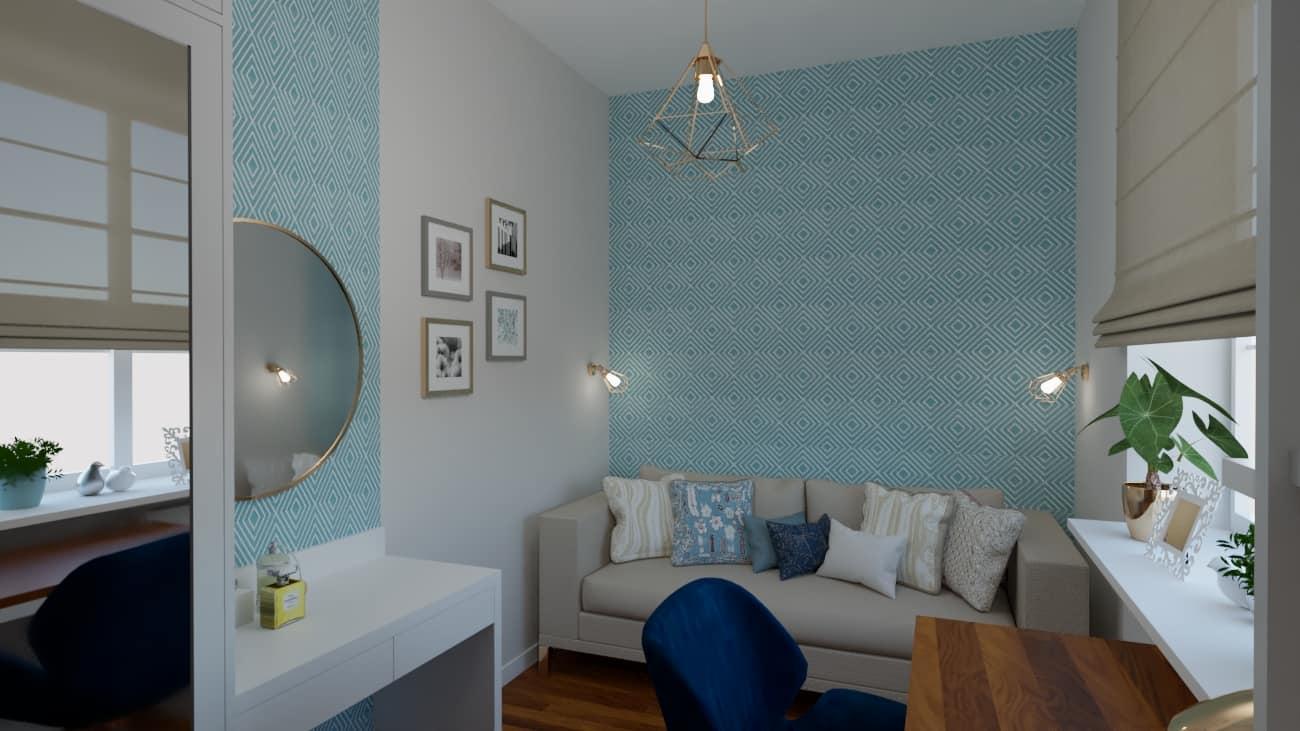 projektanci wnętrz pokoj tapeta geometryczna raby 1b Pokój z geometryczną tapetą w rąby