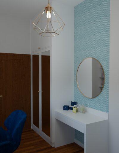 projektanci wnętrz pokoj tapeta geometryczna raby 1c Pokój z geometryczną tapetą w rąby
