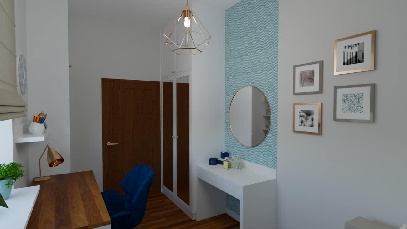 Pokój z geometryczną tapetą w rąby