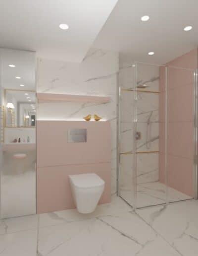 projektanci wnętrz rozowa lazienka 1a Różowa łazienka