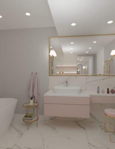 projektanci wnętrz rozowa lazienka 1c Różowa łazienka