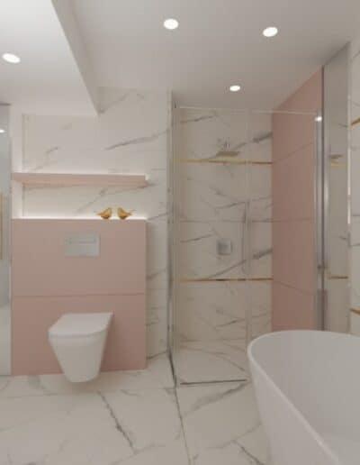 projektanci wnętrz rozowa lazienka 1d Różowa łazienka