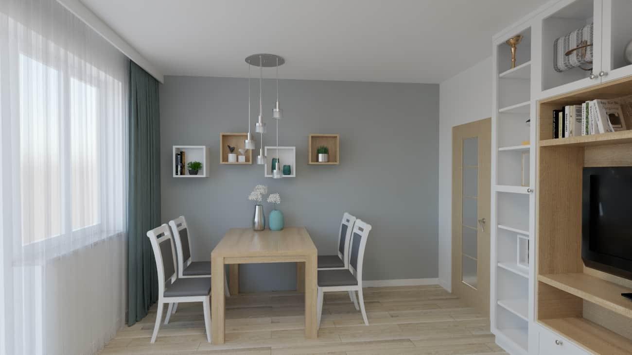 Salon-pokój z biało szarymi krzesłami
