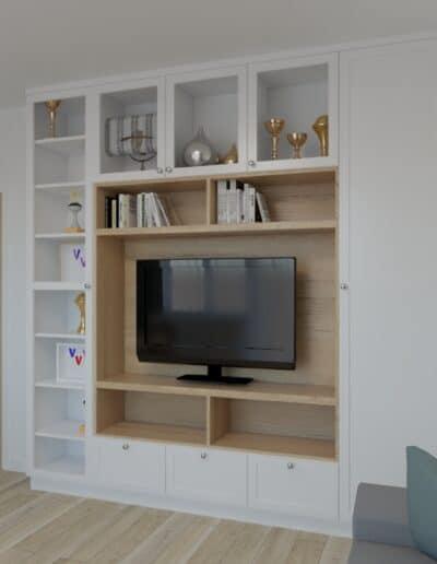 projektanci wnętrz salon bialo szare krzesla 1b Salon-pokój z biało szarymi krzesłami
