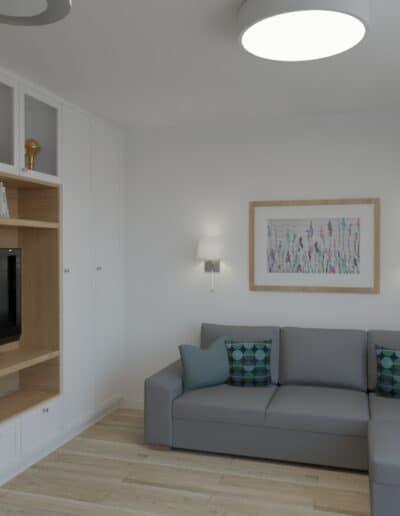 projektanci wnętrz salon bialo szare krzesla 1c Salon-pokój z biało szarymi krzesłami