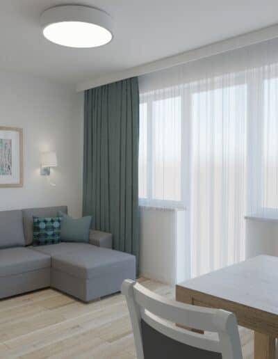 projektanci wnętrz salon bialo szare krzesla 1d Salon-pokój z biało szarymi krzesłami