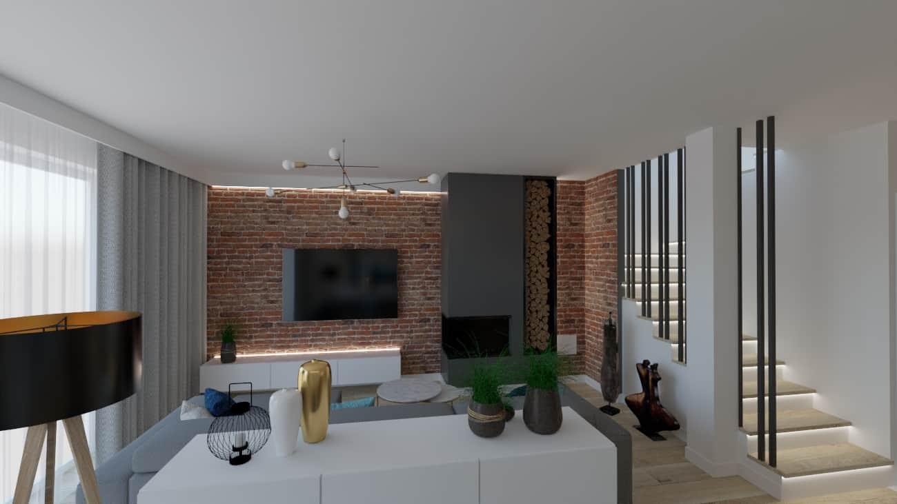 projektanci wnętrz salon cegla z kuchnia 1a Salon z ceglaną ścianą TV
