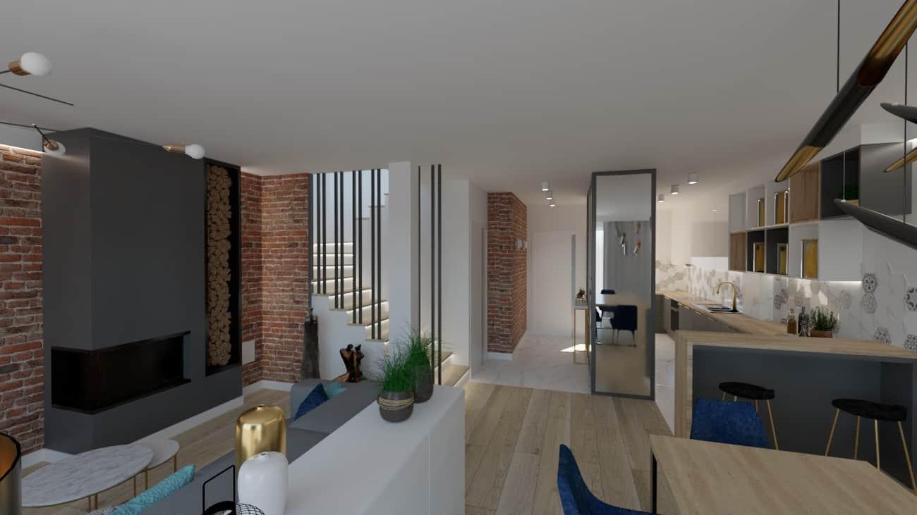 projektanci wnętrz salon cegla z kuchnia 1b Kuchnia z salonem ściana z cegły