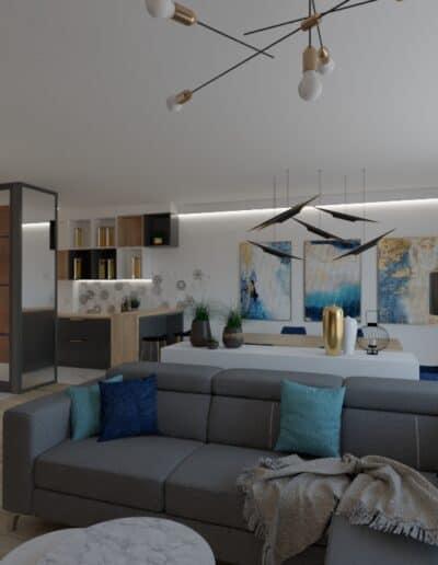 projektanci wnętrz salon cegla z kuchnia 1c Salon z ceglaną ścianą TV