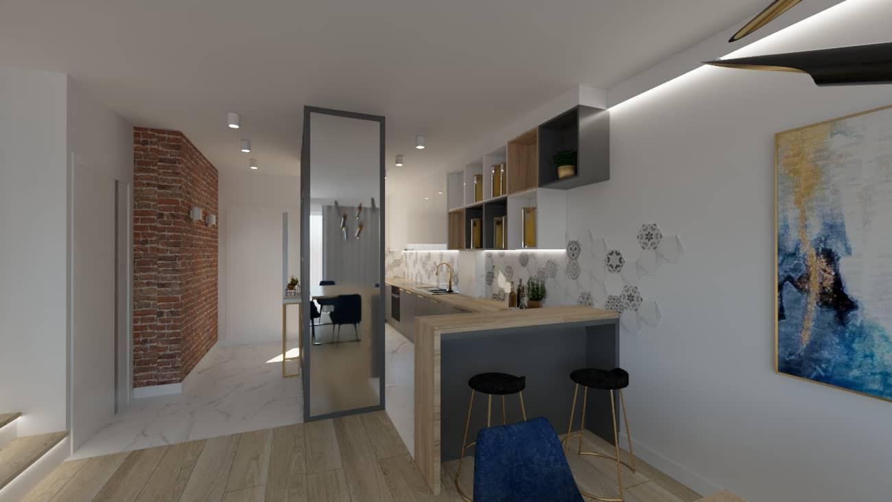projektanci wnętrz salon cegla z kuchnia 1e Kuchnia z salonem ściana z cegły