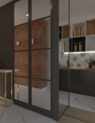 projektanci wnętrz salon cegla z kuchnia 1f Salon z ceglaną ścianą TV
