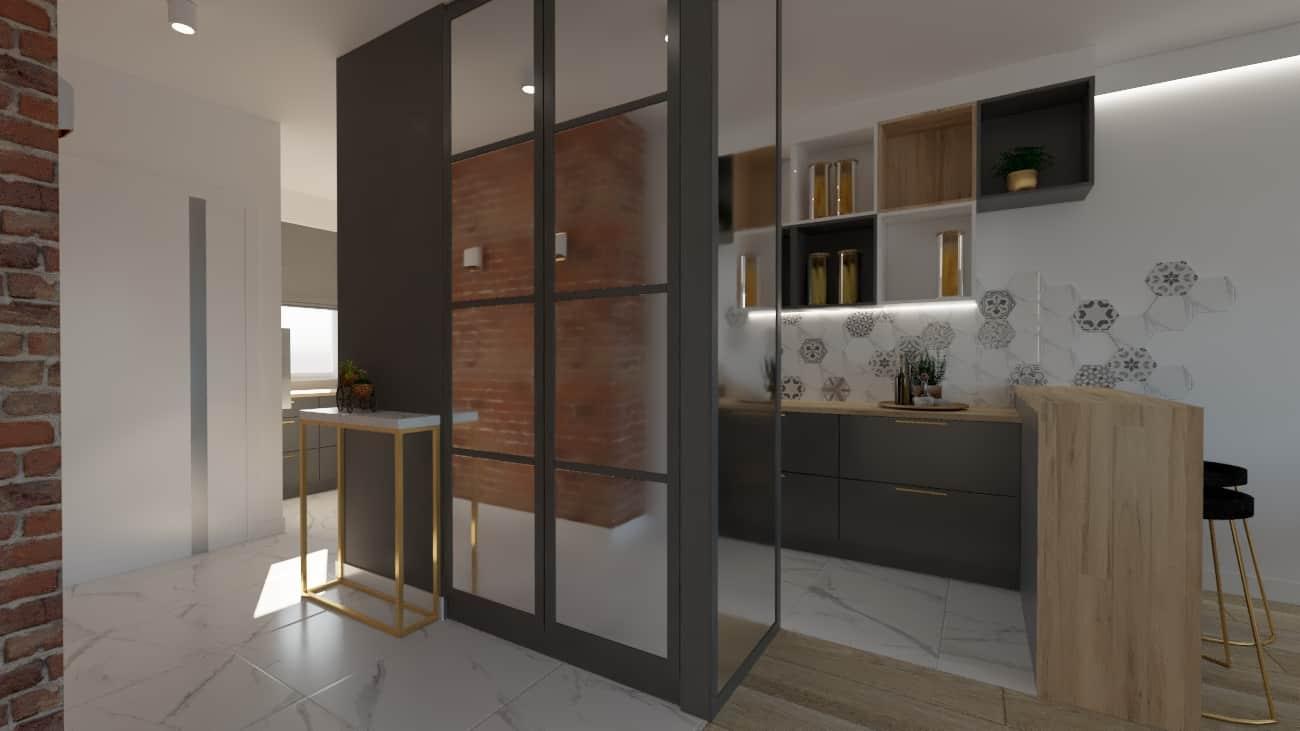 projektanci wnętrz salon cegla z kuchnia 1f Kuchnia z salonem ściana z cegły