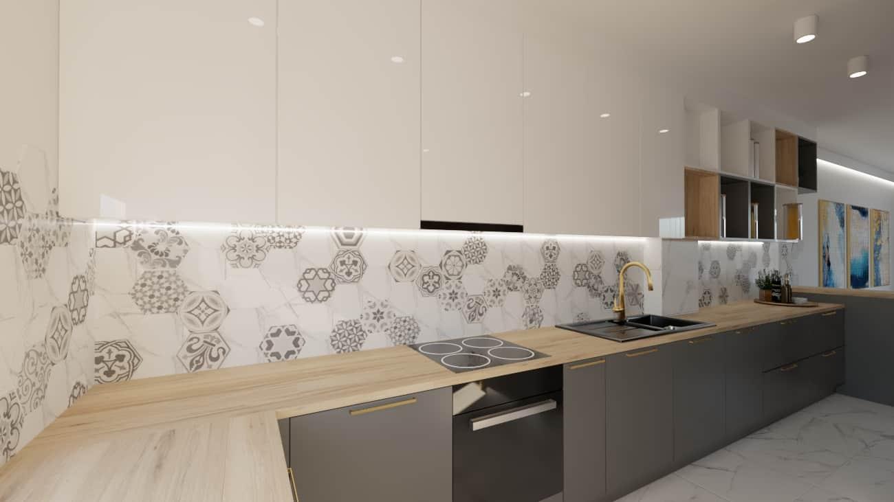 projektanci wnętrz salon cegla z kuchnia 1h Kuchnia z salonem ściana z cegły