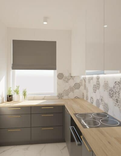 projektanci wnętrz salon cegla z kuchnia 1i Salon z ceglaną ścianą TV