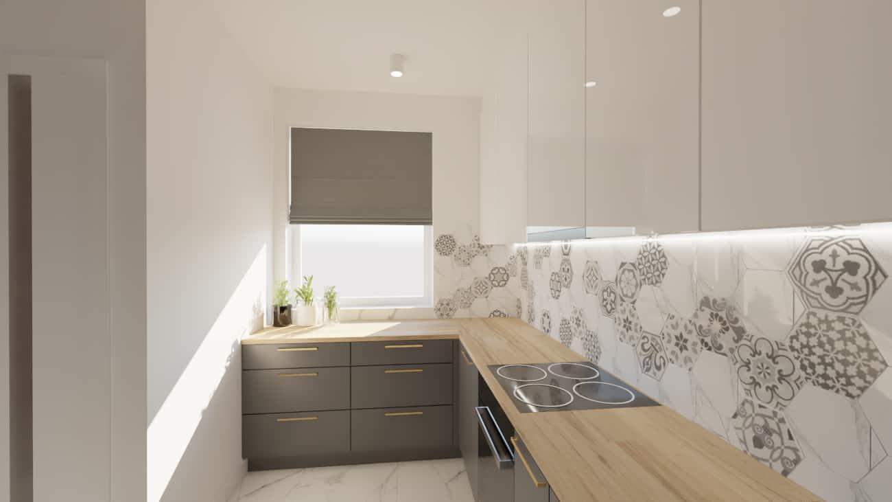 projektanci wnętrz salon cegla z kuchnia 1i Kuchnia z salonem ściana z cegły