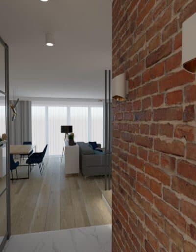 projektanci wnętrz salon cegla z kuchnia 1j Salon z ceglaną ścianą TV