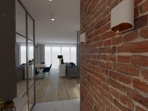 Salon zceglaną ścianą TV