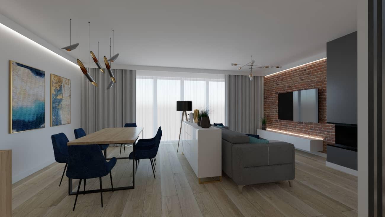 projektanci wnętrz salon cegla z kuchnia 1k Kuchnia z salonem ściana z cegły