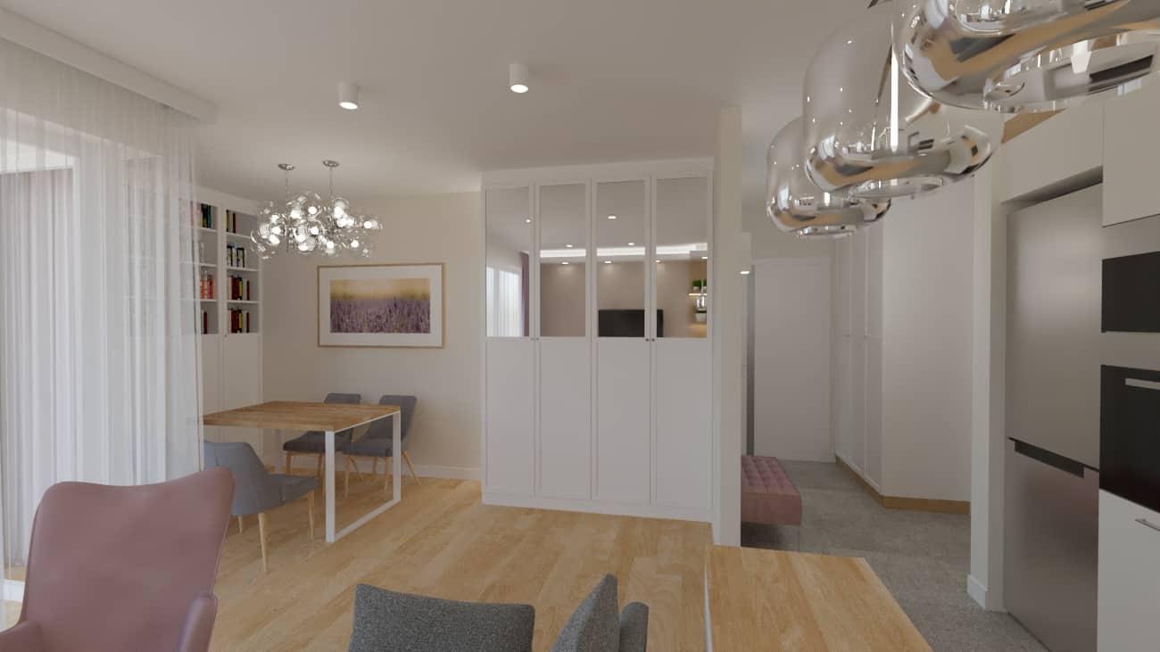 projektanci wnętrz salon tv kuchnia 1a Salon biały kamień z kuchnią