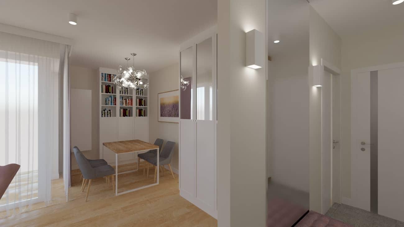 projektanci wnętrz salon tv kuchnia 1b Salon biały kamień z kuchnią