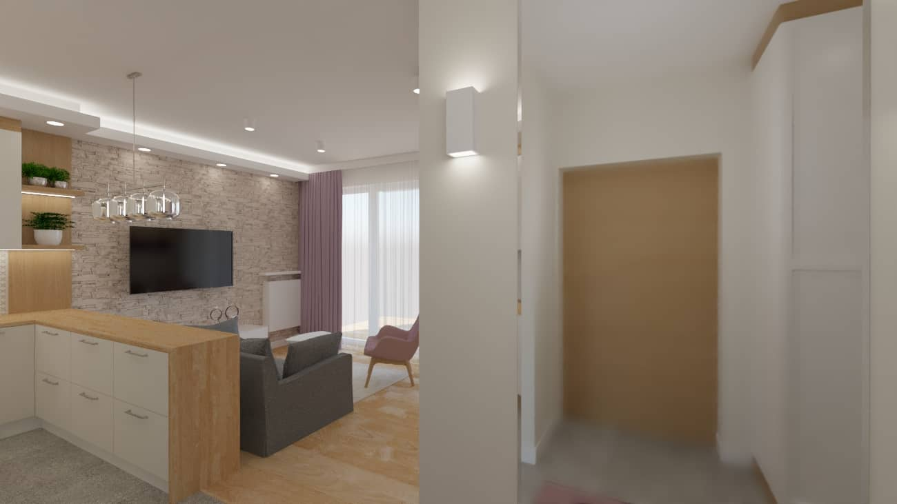 projektanci wnętrz salon tv kuchnia 1c Salon biały kamień z kuchnią