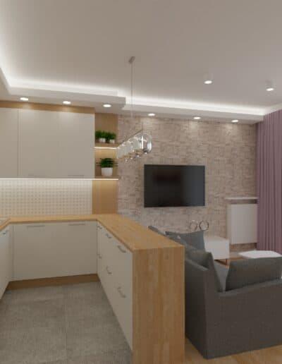 projektanci wnętrz salon tv kuchnia 1d Salon biały kamień z kuchnią