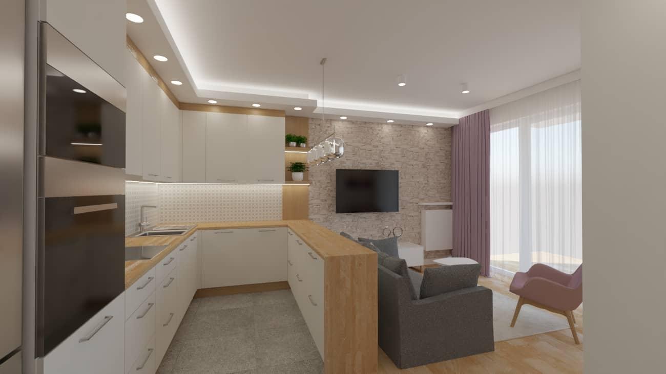 projektanci wnętrz salon tv kuchnia 1d Przestronna kuchnia z salonem
