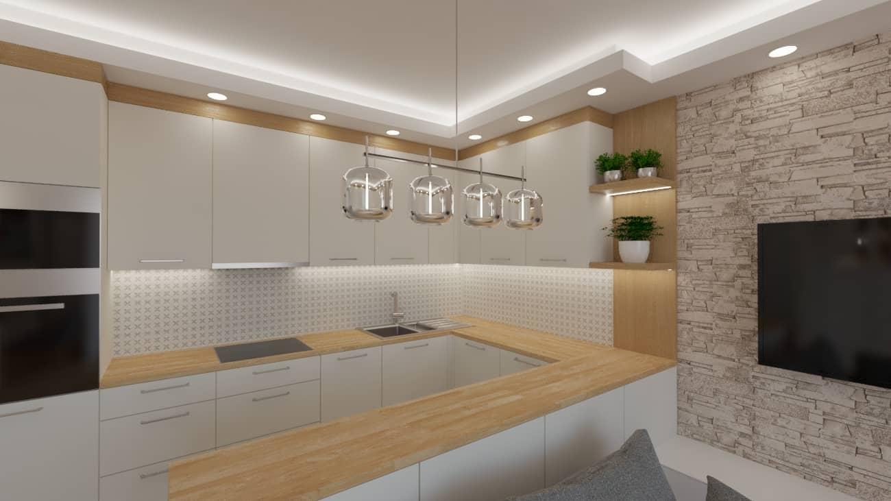 projektanci wnętrz salon tv kuchnia 1e Salon biały kamień z kuchnią