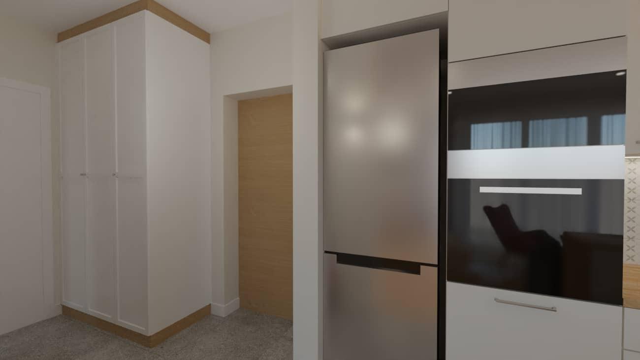 projektanci wnętrz salon tv kuchnia 1f Salon biały kamień z kuchnią