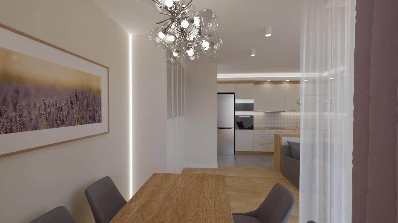 projektanci wnętrz salon tv kuchnia 1g Salon biały kamień z kuchnią