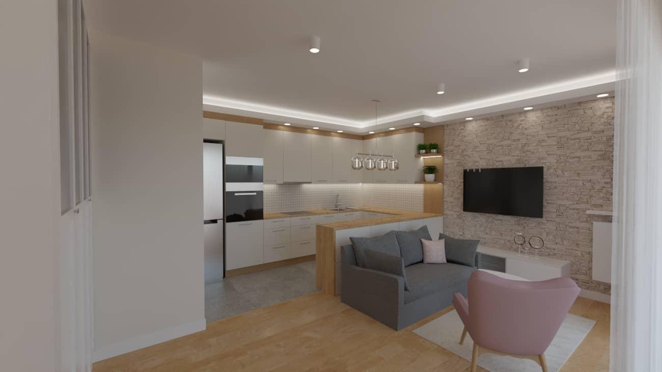 projektanci wnętrz salon tv kuchnia 1h Salon biały kamień z kuchnią