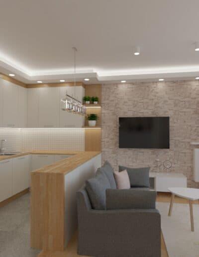 projektanci wnętrz salon tv kuchnia 1i Salon biały kamień z kuchnią