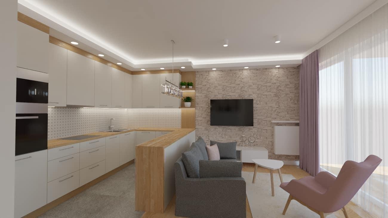 projektanci wnętrz salon tv kuchnia 1i Przestronna kuchnia z salonem