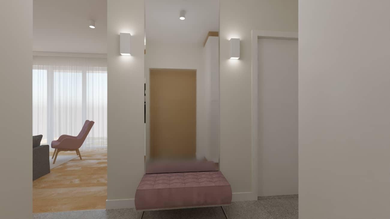 projektanci wnętrz salon tv kuchnia 1j Salon biały kamień z kuchnią