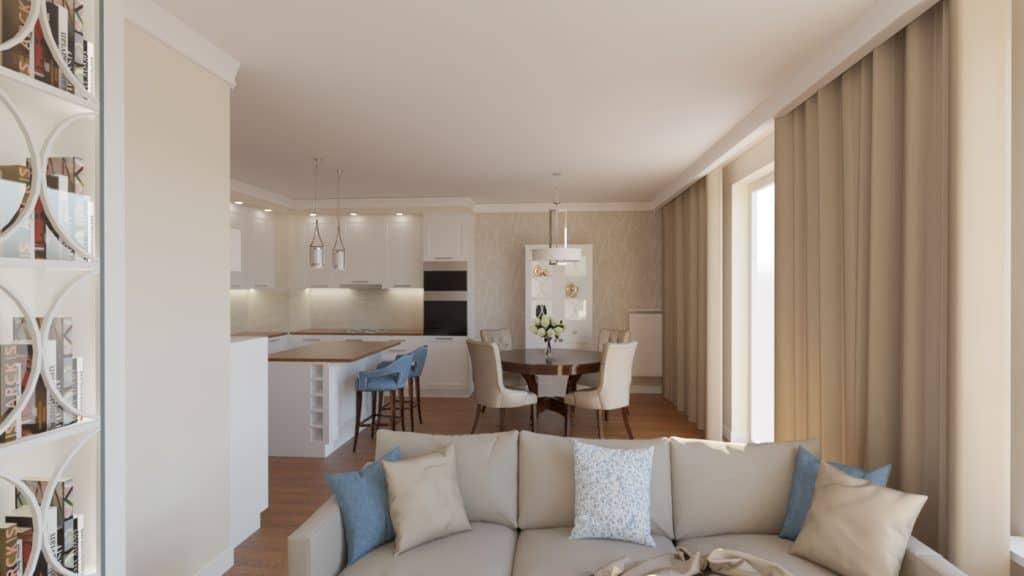 projektanci wnętrz salon z kuchnia bez 1a Beżowy salon z kuchnią
