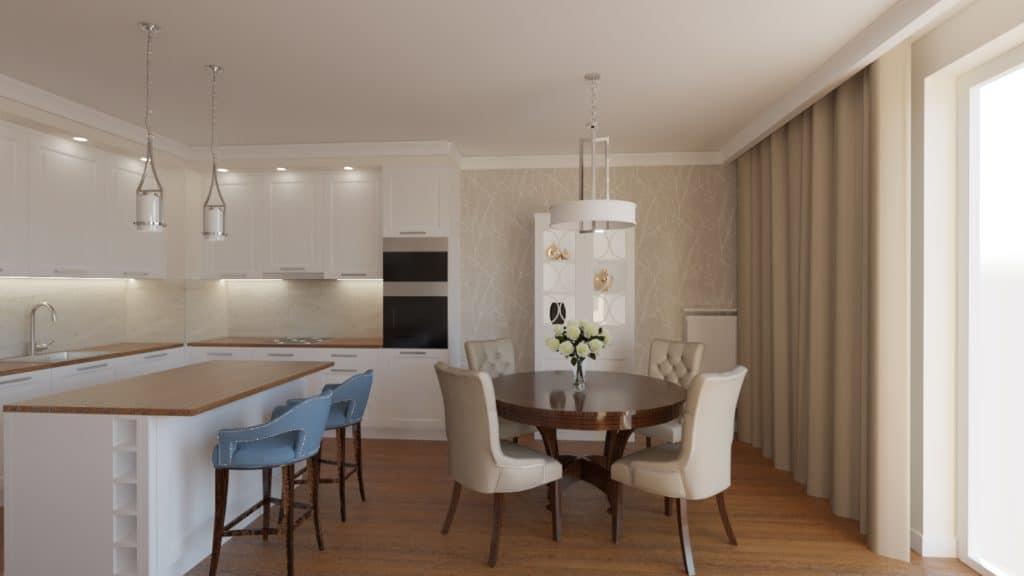 projektanci wnętrz salon z kuchnia bez 1b Beżowy salon z kuchnią