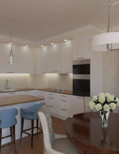 projektanci wnętrz salon z kuchnia bez 1c Beżowy salon z kuchnią