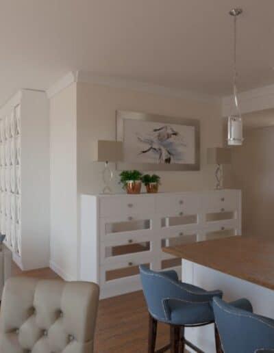 projektanci wnętrz salon z kuchnia bez 1d Beżowy salon z kuchnią